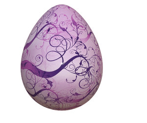 Decorated Egg 2: A brightly decorated easter egg in pink, with swirly branches.