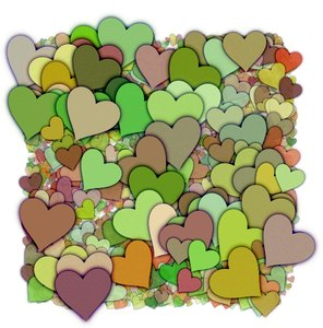 Hearts Texture 6: A 3d cluster of decorative hearts which makes a great texture, fill, stand-alone image or background.