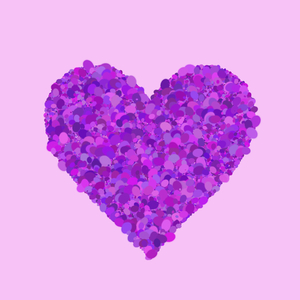 Heart Shapes 2: A pink border around a pink and purple coloured heart made of elipses, making a pretty decoration for a card, invitation or valentine.