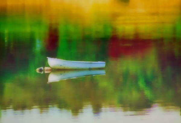 quiet time: small row boat reflection, shot in tiverton ri