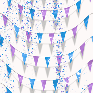 Flags or Bunting 2: A graphic of flags or bunting with confetti. Useful backdrop or texture for a celebratory feeling.