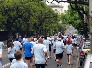 Street run: Some people running.