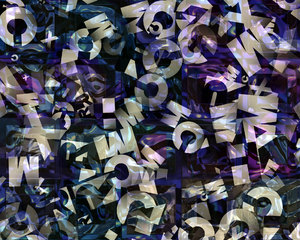 Alphabet Texture 3: A texture, fill or background of letters with gradient colours.
