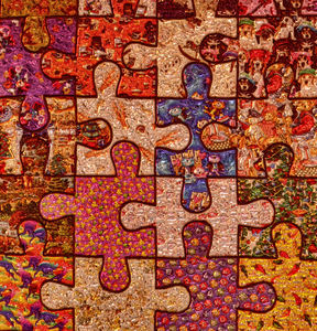puzzling jigsaw pieces1: multicoloured puzzling abstract  jigsaw puzzle pieces