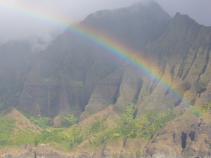 Rainbow: Beautiful moment at the Na Pali coast of Kauai, Hawaii.