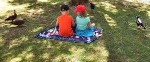 picnic visitors2: children having a picnic in the park - visited by birds