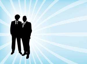 Business team - vector 2: Silhouettes of two business men. Its supposed to show teamwork. Its a complete vector so the quality must be good. I hope you can use it.Please leave a comment if you like it or use it. It stimulates me to create more stockphotos / vectors and credit me w
