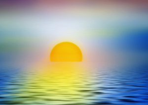 Sunset illustration: sunset or dawn seascape