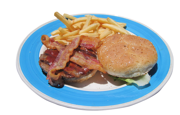 Hamburger: A hamburger with bacon.