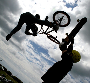 BMX: BMX rider in mid air stunt