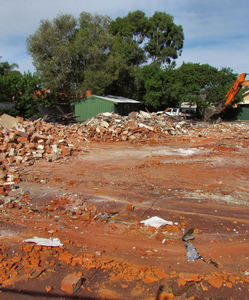 demolition20: excavator cleared demolition site