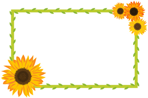 Sunflower Border 2: Sunflower and foliage border on white background.