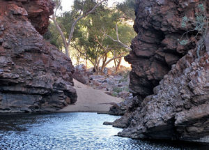 rocky gorge pool2: central Australian rocky gorge and small water pool