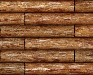 Log Cabin Wall 2: A graphic of a section of a log cabin or other structure made of logs, in high resolution,