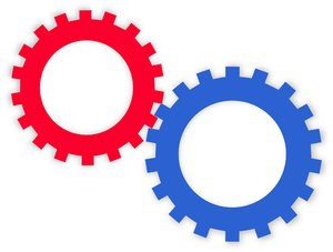Teamwork: Two cogs or gears intermeshed make a simple design to illustrate teamwork and cooperation. You may prefer:  http://www.rgbstock.com/photo/nvAzJ34/Clockwork+2  or:  http://www.rgbstock.com/photo/noCGNTk/Clockwork