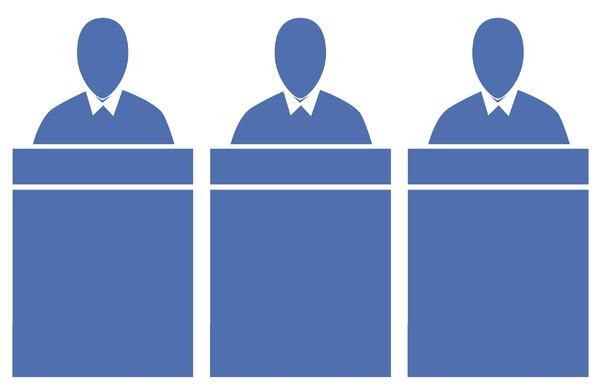 Panel of Judges 2: A pictogram of a panel of judges seated at a bench or office workers seated at desks. Could represent power, preachers or government.
