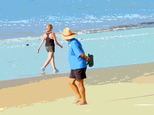 Girl Watching: An illustration of an old man leering at a passing woman on the beach.