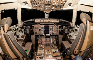 Cockpit: Cockpit view of a commertial airplane