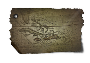 Pirate map: Antique map of the Caribbean