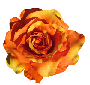 Orange flower: An artificial rose isolated.
