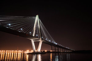 Ravenel Bridge Charleston: Lit at night the beautiful Ravenel Bridge in Charleston, South Carolina, USA. Also known as the Cooper River Bridge