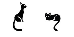 Cats: Cat silhouettes on a white background