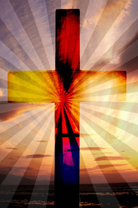 Easter Cross: Light and dark colours portray the drama of Easter