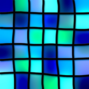 Aqua Tiles: Stained glass blue squares.
