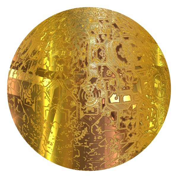 Gold Sphere: A golden sphere with the outline of cogs and gears. You may prefer:  http://www.rgbstock.com/photo/mWBzgrq/Christmas+Baubles+6  or:  http://www.rgbstock.com/photo/orAke3w/Shiny+Patterned+Bauble+1