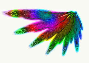 Rainbow Wing 2: A magical, fantasy wing in rainbow colours on a white background. You may prefer:  http://www.rgbstock.com/photo/mqppEd4/Angel+Light  or:  http://www.rgbstock.com/photo/ms6WZhM/Cutout+Foil+Butterfly