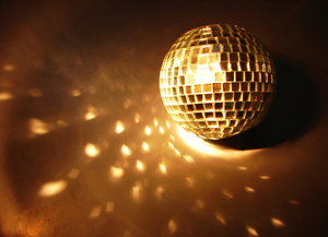 disco ball 1: a disco ball lit up