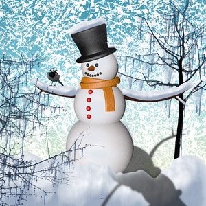 snow man: CG composite