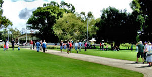 park visitors1: people walking and relaxing in park