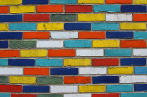Coloured bricks: A cloured wall in Chicago