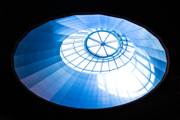 Skylight: Sunlight streaming through the ceiling at the mall