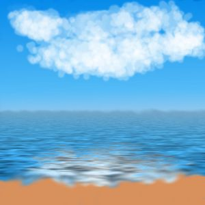 Beach background: Beach with clouds and water