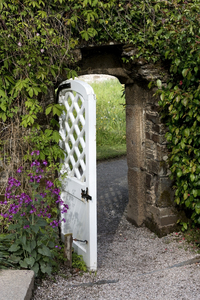 Garden gate: A gate from a walled garden in Cornwall, England.