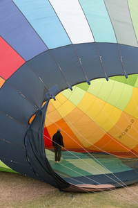 Hot air balloon check: Safety check of the inside of a hot air balloon before takeoff in England.