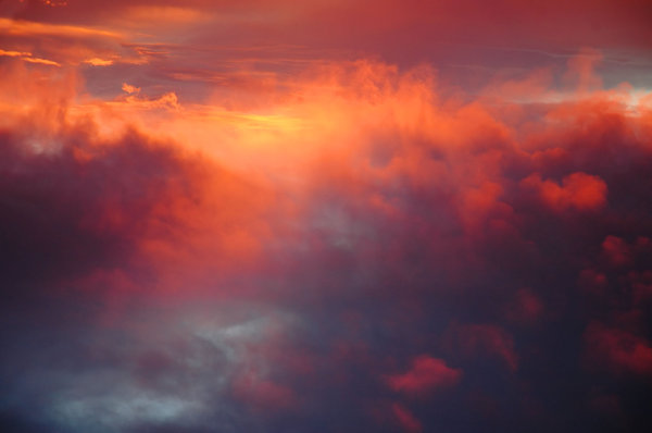 Blood red clouds: Clouds in the evening.NB: Credit to read