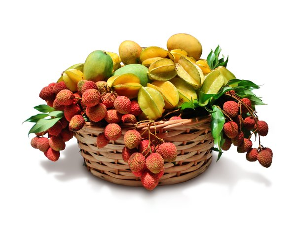 Tropical Fruits: Lychee, mango and carambola basket