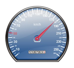 Speedometer in km/h: Speedometer in km/h, blue disc and red indicator