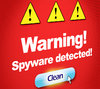 Spyware Detected: Spyware detected message, shot from screen. Own graphic made in Photoshop