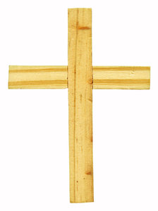 Wood Cross: A light colored wood cross.