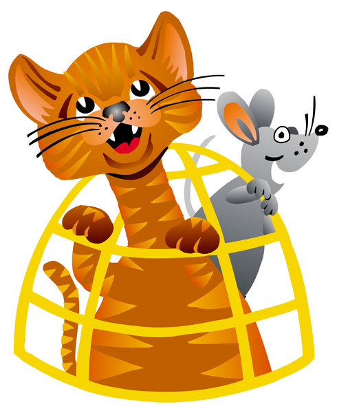 Cat & Mouse: Cartoon illustration of a Cat & Mouse.Please visit my stockxpert gallery:http://www.stockxpert.com ..