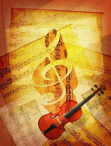 Sheet Music 6: Variations on a sheet music collage.