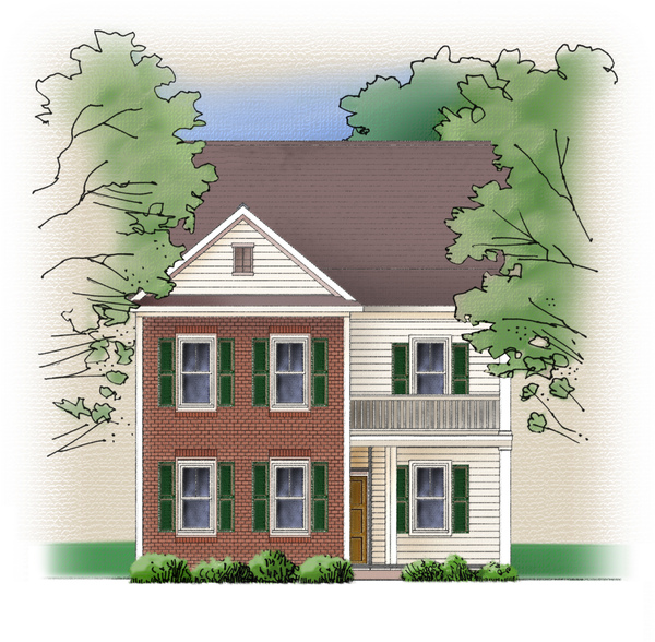 House: A front view of a house rendering.