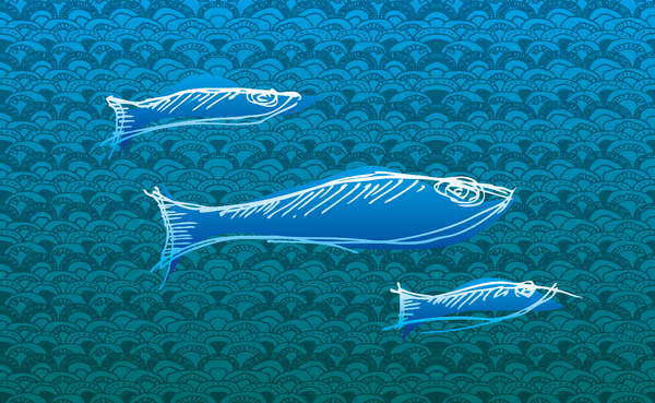 Fish, No Chips -  Illustration: Handpainted illustration of fish with pattern background.It would be great if you drop me a line if you used this Illustration. - You are looking for an personalized illustration, icons, etc.? Visit http://badk.at