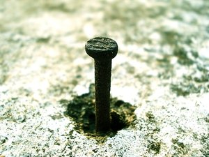 Nail: Macro Shot of a Rusted Nail.