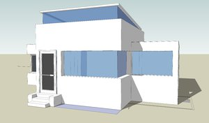 Building 3D and wireframe 2: Model of a small building