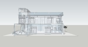 Building 3D and wireframe 4: 3D Wireframe modelling of a house
